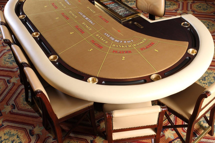 Baccarat table layout in a classic and internet casino difference